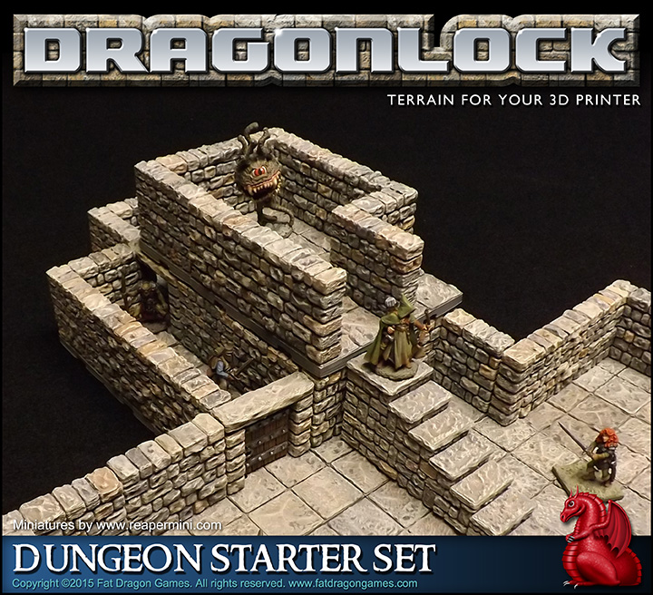 picture regarding 3d Printable Dungeon Tiles called DRAGONLOCK™ Final: Dungeon Beginner Fixed FDG0160 - Body weight