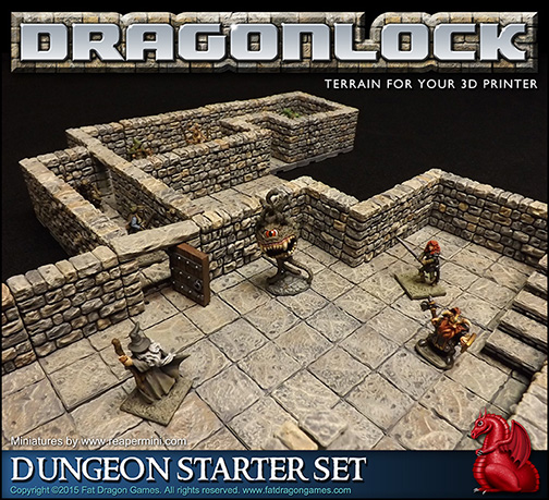 image about 3d Printable Terrain known as DRAGONLOCK™ Best: Dungeon Rookie Mounted FDG0160 - Excess weight